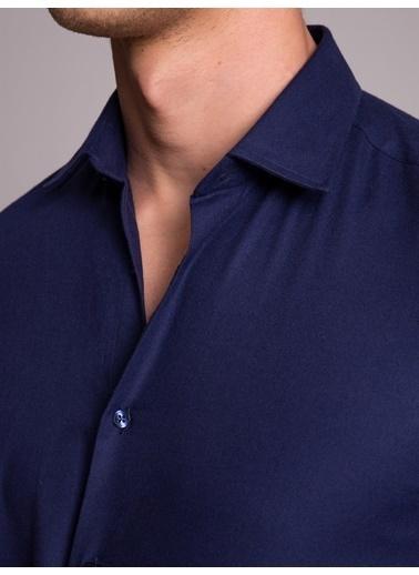 Dufy Lacıvert Düz Pamuklu Erkek Gömlek - Slım Fıt Lacivert